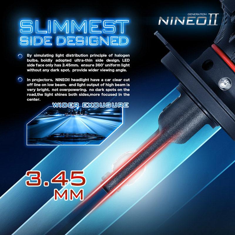 Magnetic Levitation Dual Ball Bearing Fan Design NINEO 110W H13 LED Headlight Bulbs w//20000LM 9008 Conversion Kit 6500K Cool White